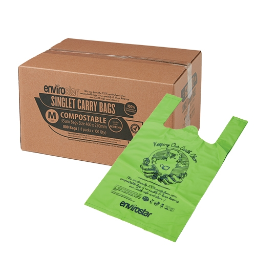 Compostable Singlet Bags 37um Medium - GCSHB02